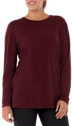 Athletic Works Women's Athleisure Long Sleeve Tunic Length Yoga Long Sleeve T-Shirt