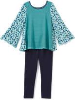 Mint & Navy Floral Swing Top & Leggings - Toddler & Girls