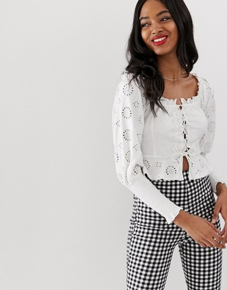 Bardot Asos Design ASOS DESIGN shirring top with broderie sleeve and lace up detail-White