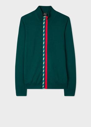 Men's Dark Green Merino Wool Zip-Through Cardigan With 'Rope' Trims