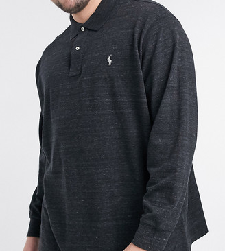 Polo Ralph Lauren Big & Tall player logo long sleeve pique polo in black marl