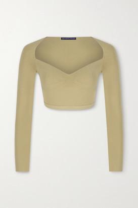 ZEYNEP ARCAY Cropped Stretch-knit Top - Beige