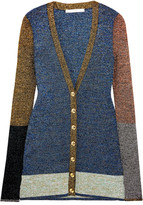 Christopher Kane Color-block Metallic Stretch-knit Cardigan - Blue