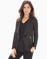 Soma Intimates French Terry Zipper Detail Jacket Glitz Stripe Black