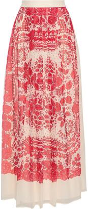 Philosophy di Lorenzo Serafini Pleated Printed Silk-chiffon Maxi Skirt