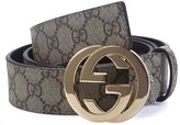 Weevoo Men's Classic 38-mm Big GG Buckle Leather Jeans Belt (Length:, Gold 1)