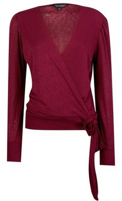 Dorothy Perkins Womens Red Long Sleeve Wrap Top, Red