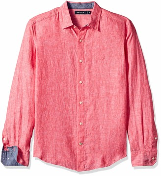 Nautica Men's Classic Fit Long Sleeve Solid Linen Shirt