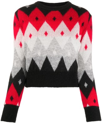 Blumarine Argyle-Check Knitted Jumper