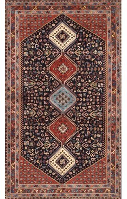 Bungalow Rose Amoban Southwestern Red/Navy Blue Area Rug Rug Size: Rectangle 7' x 10'