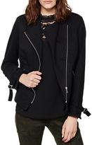 Mint Velvet Cotton Zip Biker Jacket, Black