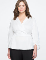 ELOQUII Wrap Front Puff Sleeve Top
