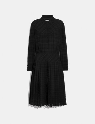 Coach Plaid Pleated Shirt Dress