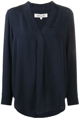 Diane von Furstenberg V-Neck Long-Sleeve Blouse