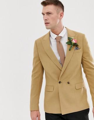 Melange Home Asos Design ASOS DESIGN wedding skinny double breasted blazer in camel-Beige