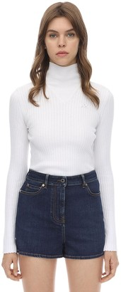 Courreges Long Sleeved Logo Ribbed Sweater