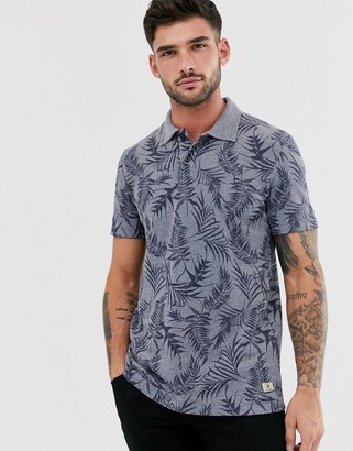 Jack and Jones floral print polo-Blue