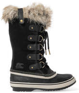 Sorel Joan Of Arctic Waterproof Faux Fur-trimmed Suede And Rubber Boots - Black