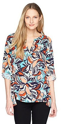 Chaus Women's Roll Tab Flowing Petals Mixed Media Top