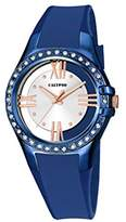 Calypso Women's Quartz Watch with Silver Dial Analogue Display and Blue Plastic Strap K5680/5