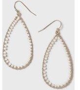 Dorothy Perkins Womens Gold Pearl Oval Hoop Earrings- Cream