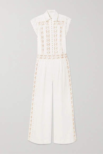 Zimmermann Moncur Studded Linen, Cotton And Silk-chiffon Jumpsuit - Ivory