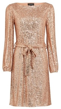 Dorothy Perkins Womens Rose Gold Breast Cancer Care Sequin Belted Fit And Flare Dress, Rose Gold