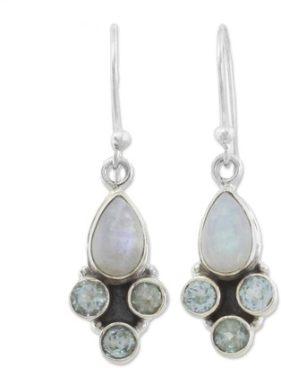 Novica Handmade Rainbow Moonstone and Blue Topaz Dangle Earrings, 'Enthralling Sky in Blue'