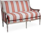 Massoud Furniture Oakridge 56 Settee, Gray/Pink Stripe