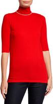 Neiman Marcus Elbow-Sleeve Chain Trim Turtleneck Cashmere Sweater