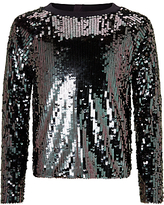 John Lewis Girls' Sequin Sweatshirt, Black/Silver