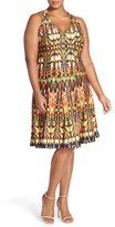 Gabby Skye Plus Size Women's Ikat Print Fit & Flare Dress