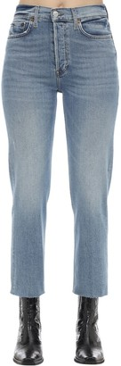 RE/DONE High Rise Stove Pipe Stretch Denim Jeans