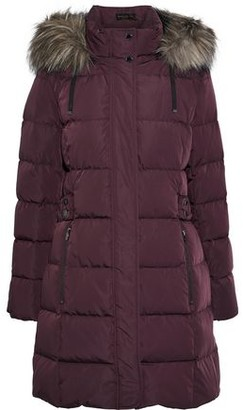 Donna Karan Faux Fur-trimmed Quilted Shell Down Hooded Coat