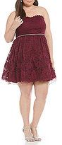 Jodi Kristopher Plus Strapless 3-D Floral Fit-and-Flare Party Dress