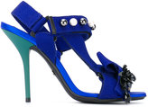 No.21 hook & loop stiletto sandals - women - Leather/Polyester/rubber - 35