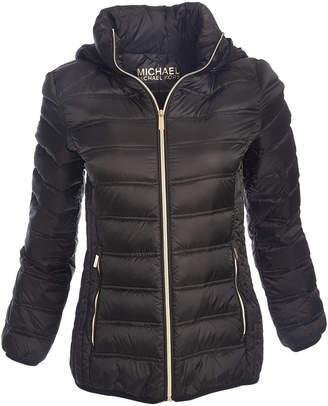 Michael Kors Women's Puffer Coats Black - Black Quilted Chevron Packable Puffer Jacket - Women