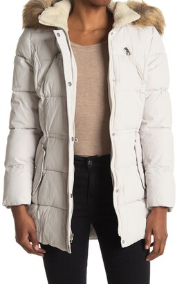 Nautica Faux Fur Hood Quilted Jacket