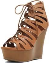 Allegra K Women's Open Toe Lace-Up Cutout Platform Wedge Sandals (Size US 6) Brown