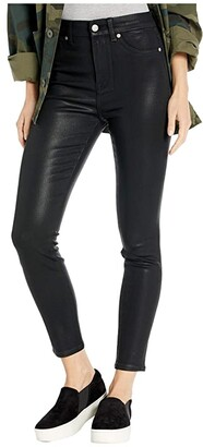 7 For All Mankind High-Waist Ankle Skinny Faux Pocket in Black Coated (Black Coated) Women's Jeans