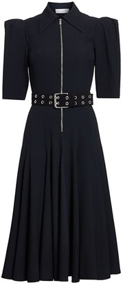 Michael Kors Zip-Front Belted Midi Dress