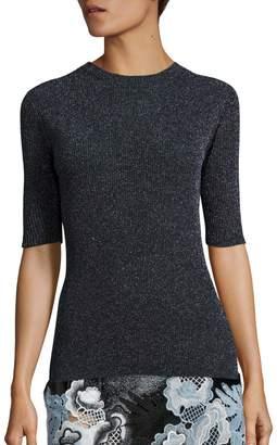 3.1 Phillip Lim Metallic Rib-Knit Crewneck Sweater