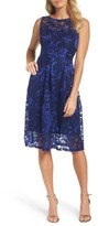 Ellen Tracy Women's Floral Scroll Embroidered Cocktail Dress