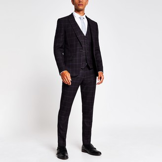 River Island Mens Purple check skinny suit trousers