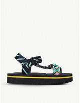 Kurt Geiger London Olivia mixed print canvas flatform sandals