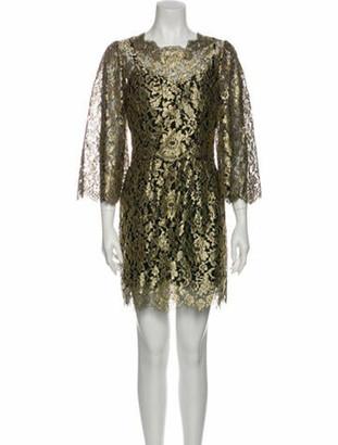 Dolce & Gabbana Lace Pattern Mini Dress Gold