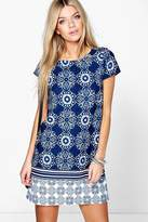 boohoo Ella Border Print Paisley Shift Dress