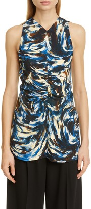Proenza Schouler Paint Print Ruched Cady Tank