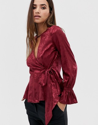 Lipsy jacquard blouse with wrap detail