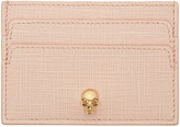 Alexander McQueen Pink and Gold Lino Skull Card Holder